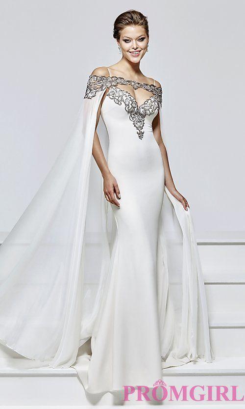 Long Prom Dress by Tarik Ediz with Removable Cape  5720e3ecddcd