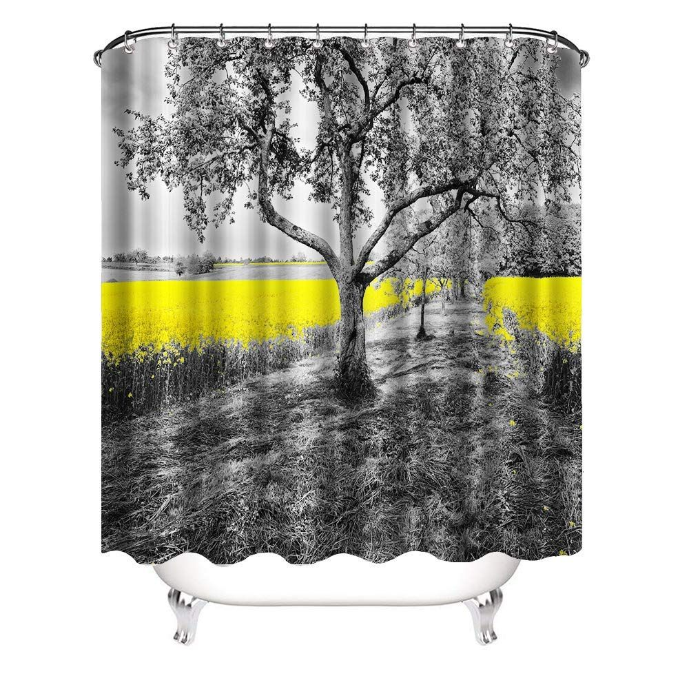 Vividhome Tree Shower Curtains With Hooks Black Trees Yellow Cole