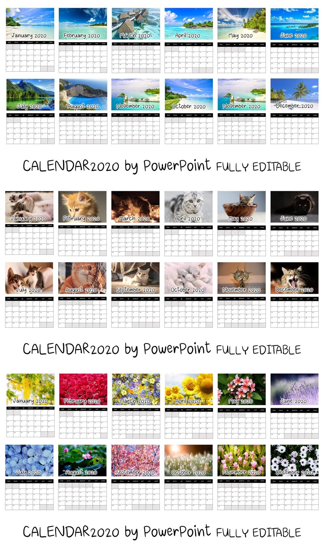 Calendar 2020 By Powerpoint Free Download Powerpoint Free Calendar Template Calendar 2020