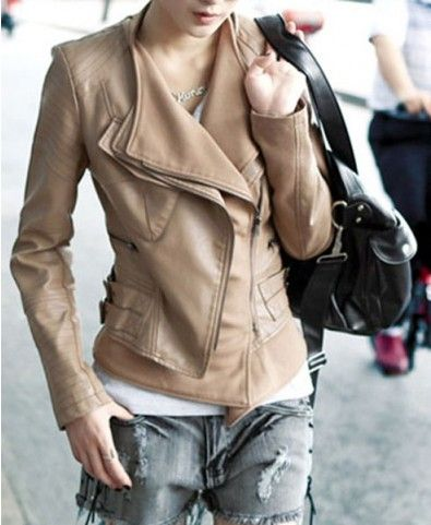Layered Lapel Biker Jackets in PU Leather