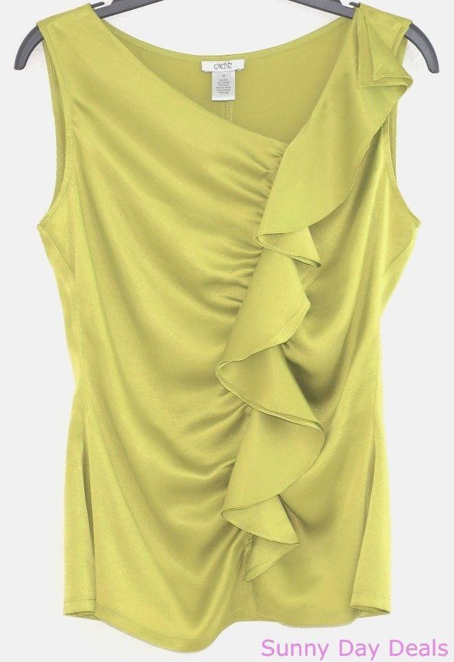 0c2c23bd6b7c9 Cache Womens Blouse Silk Sleeveless Ruffle Green Top Solid Asymmetrical  Neck M