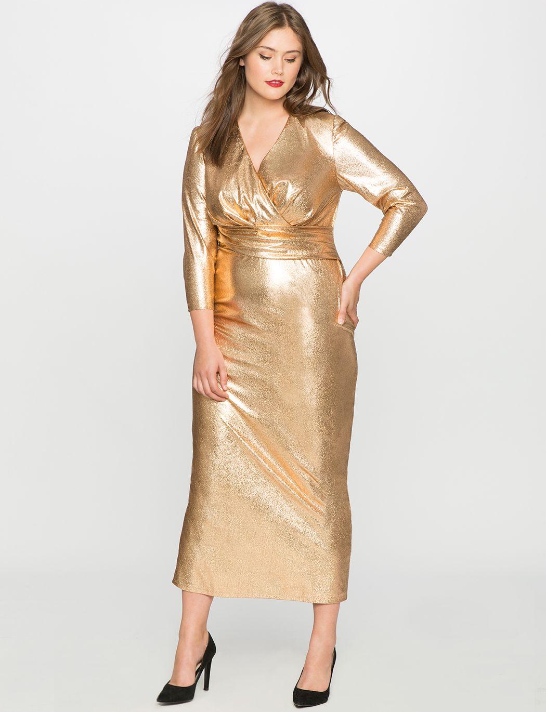 2109a4e67af Studio Metallic Textured Wrap Dress