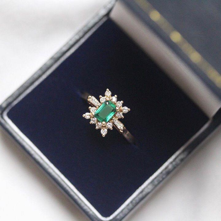 Vintage style in lush emerald. - Diamond engagement ring #engagementring #diamond #diamondengagementring #engaged #bridetobe #wedding