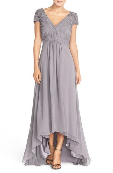 47b3b02c37 Eliza J Beaded Shoulder Pleated Chiffon Gown available at  Nordstrom ...