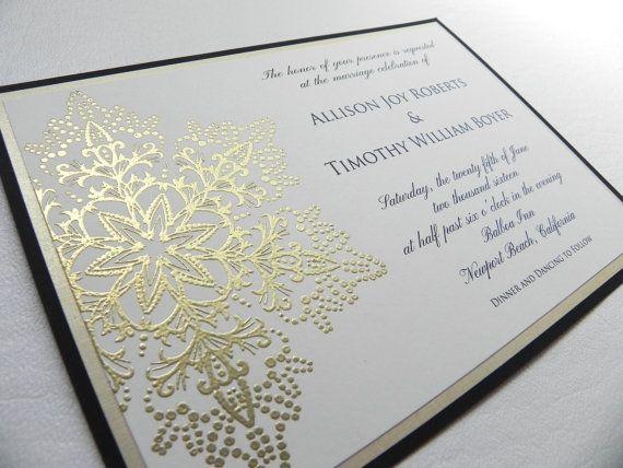 Gold Snowflake Wedding Invitation 4 Piece by WhiteGownInvitations