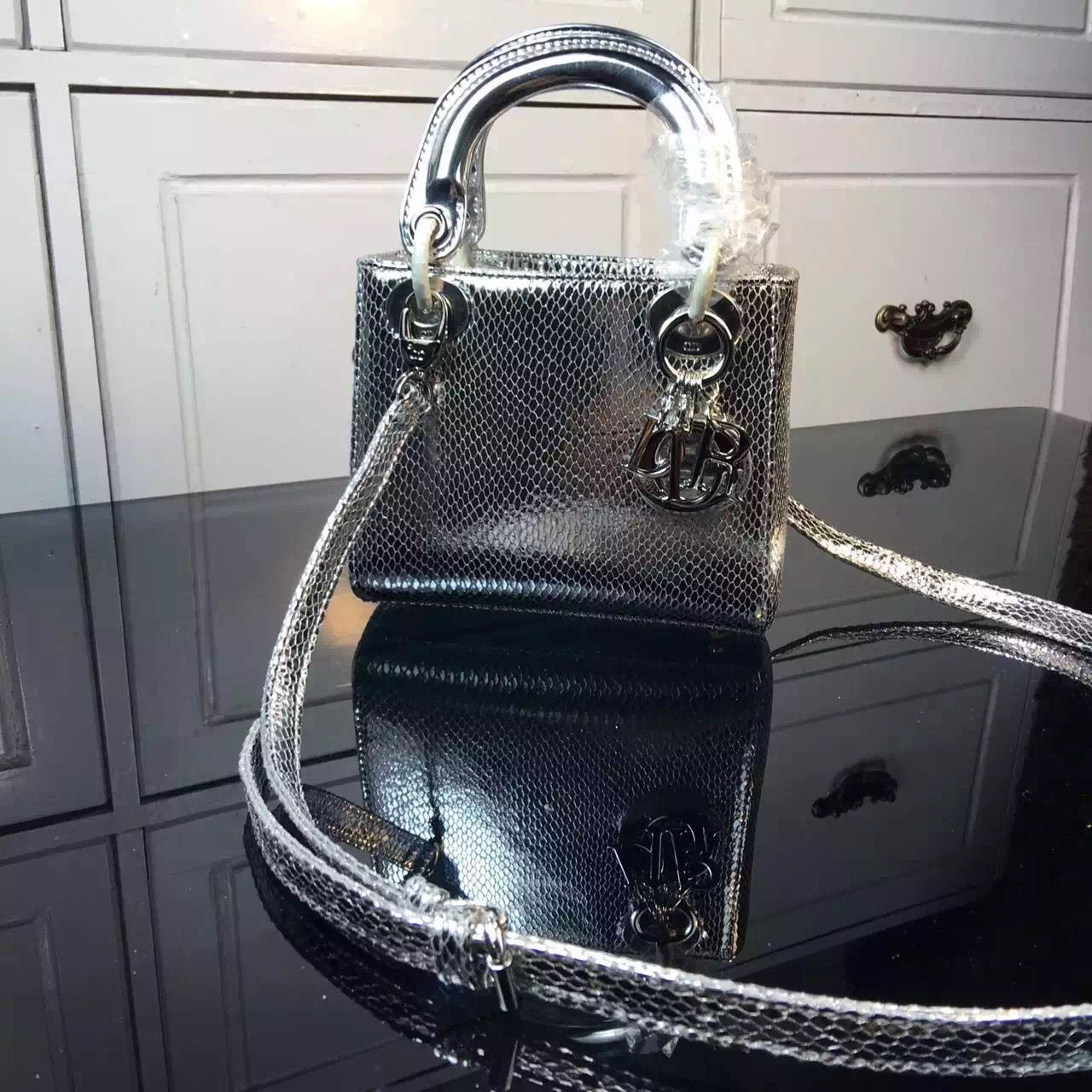 0c8d9022d63 Dior Mini Lady Dior Bag In Silver Calfskin Glossy Python Pattern ...