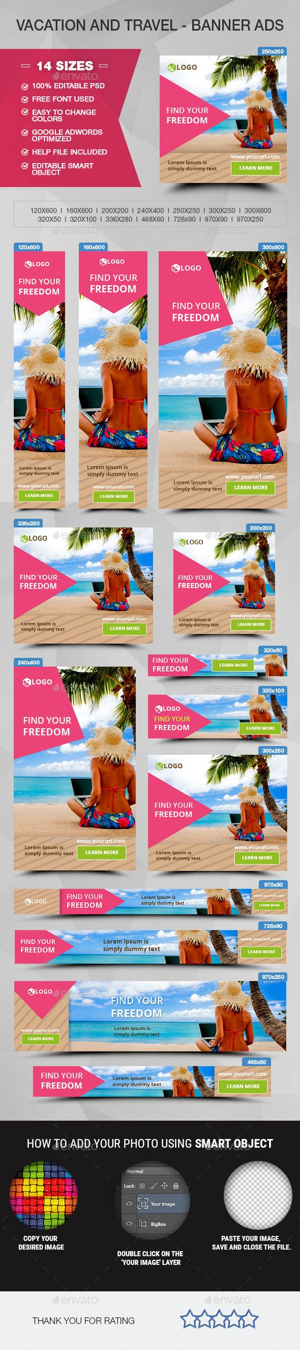Travel Promotion Banners Curly Ribbon Banners