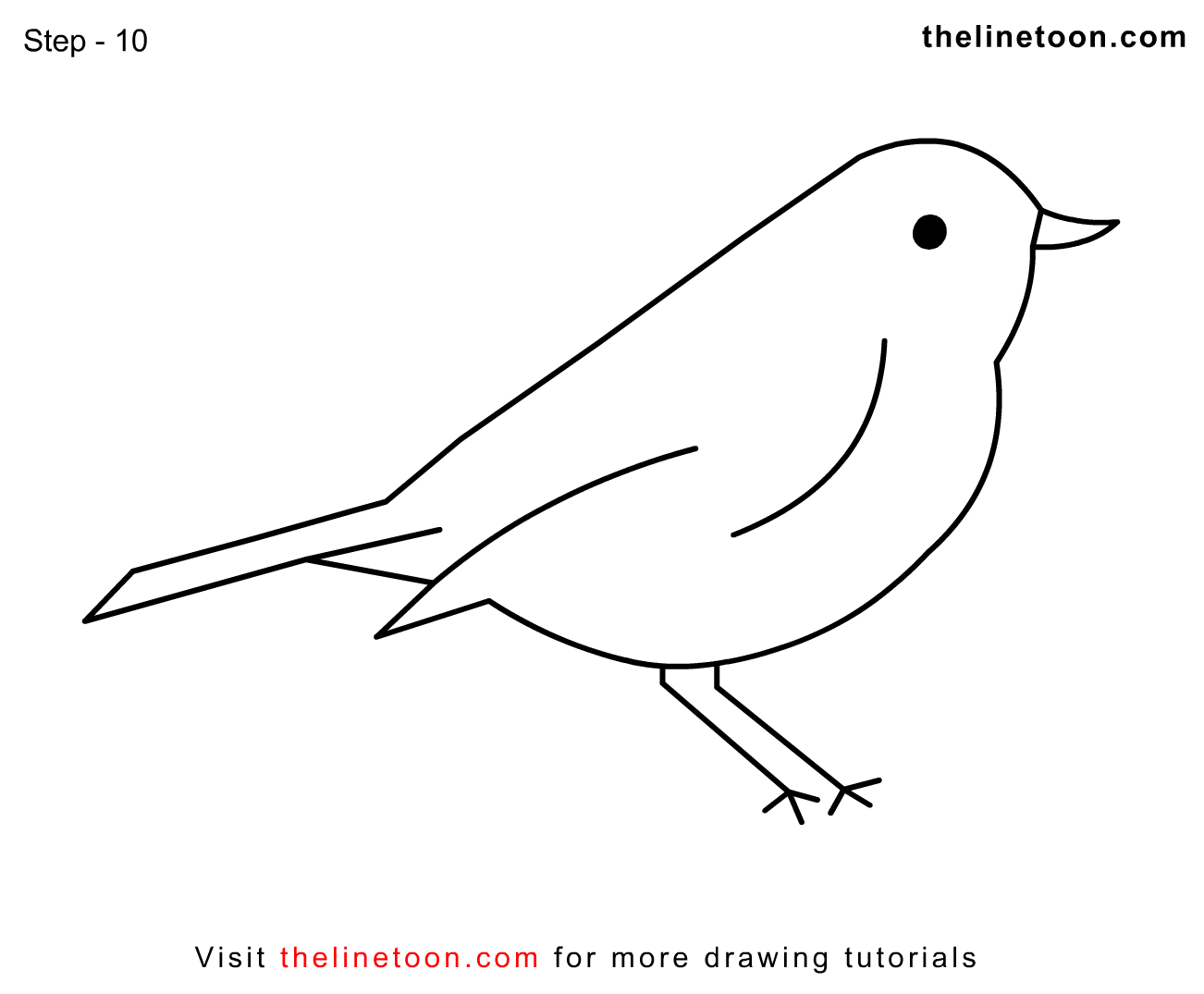thelinetoon how to draw bird easy simple for kids step by step