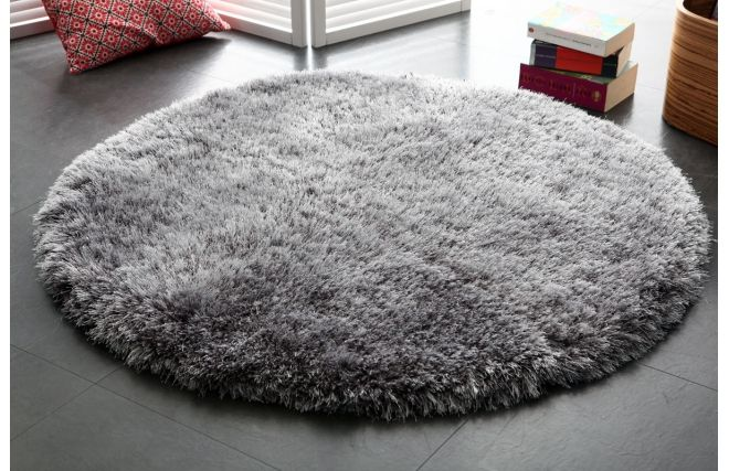 tapis shaggy rond gris 100 cm ugo