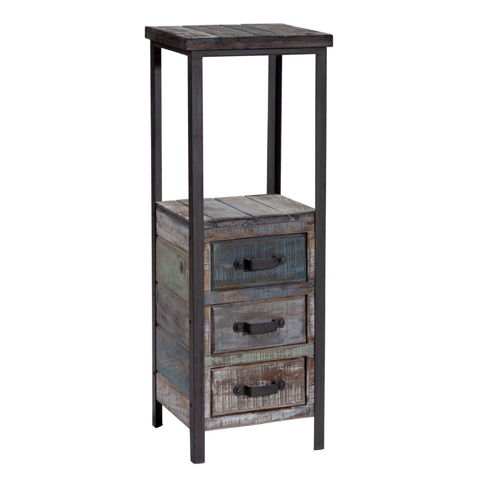 distressed linen tower rustic metal wood small space storage