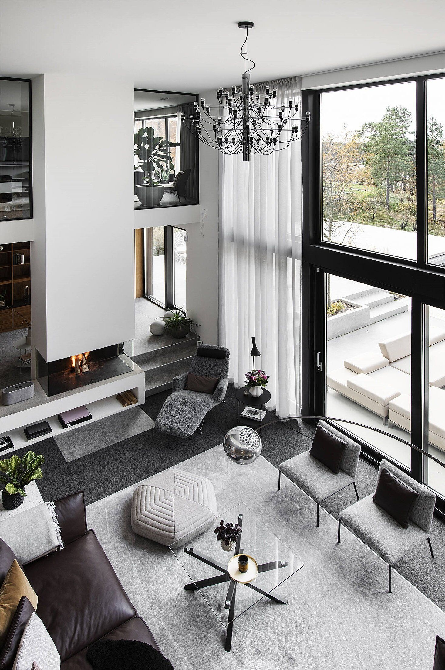 A Luxurious Open Plan Architectural Villa In Sweden Luxe Living Room House Furniture Design Open Plan Living Room