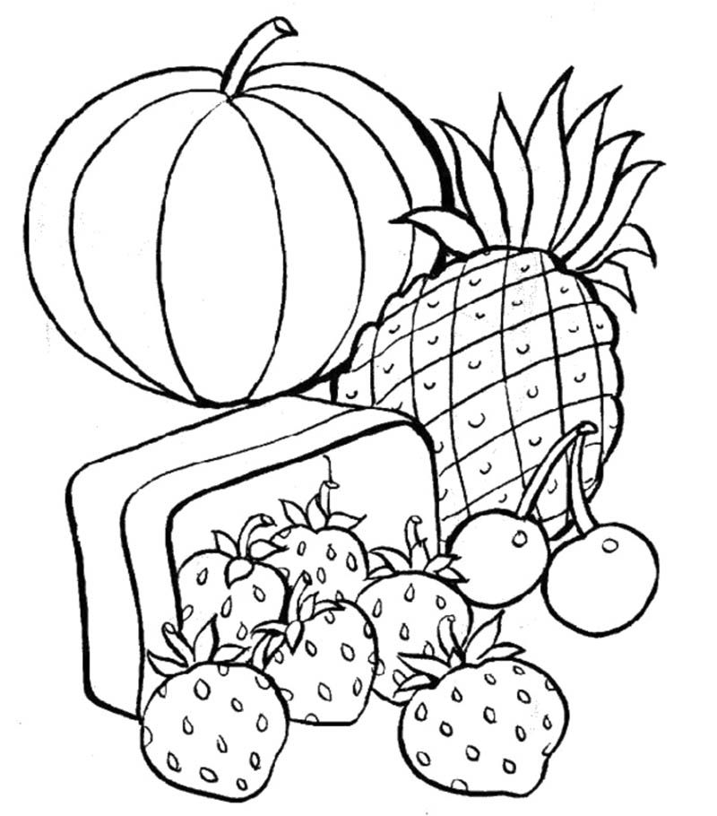 Healthy Food Coloring Pages | adult coloring books | Pinterest | Craft