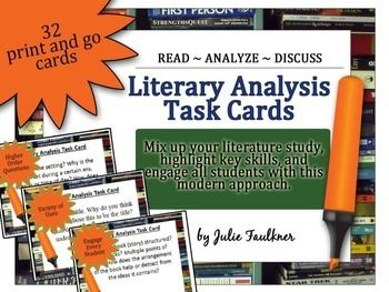 Literary Analysis Task Cards Use With Any Prose Piece Modern