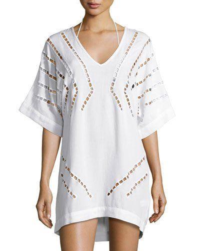 Luma Embroidered Caftan Coverup, Off White
