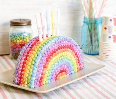 gâteau arc-en-ciel smarties - jujube en cuisine | anni manon