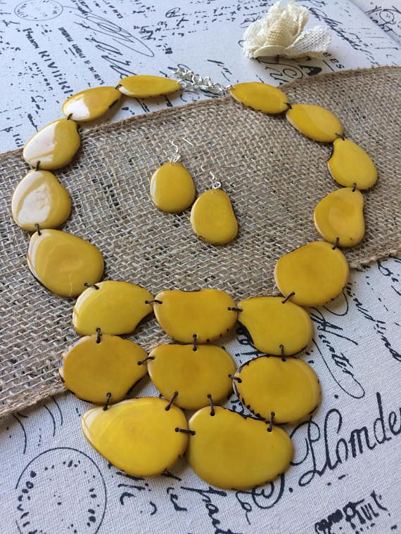 Statement necklace and earrings set. Chunky necklace. Big bold chunky necklace. Unique gifts for women. Summer jewelry