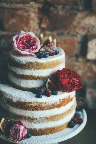 Свадебный торт с открытыми коржами | Свадебный торт, Торт ...