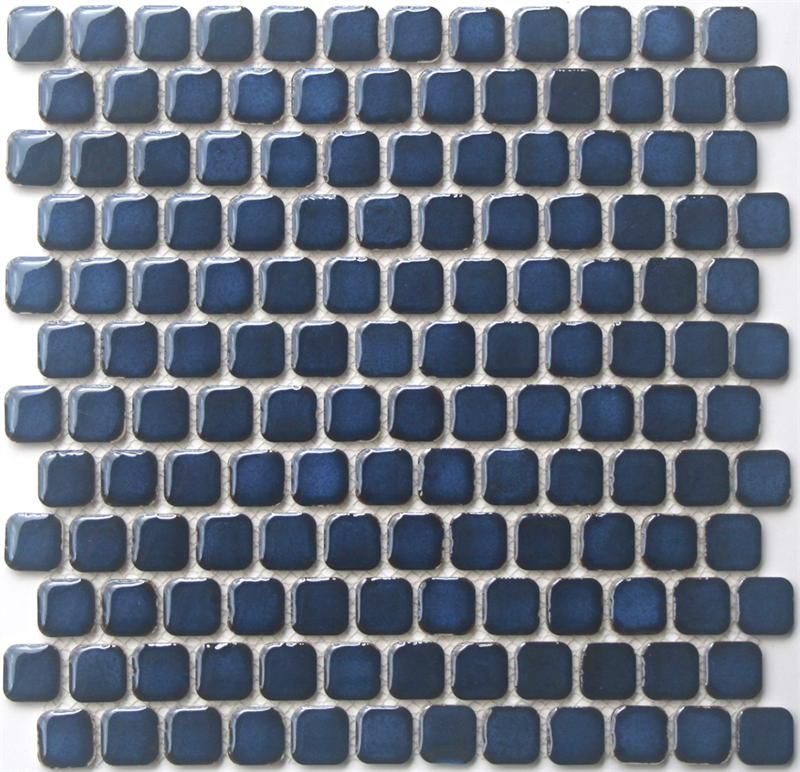 Retro Chiclet Glazed Porcelain Mosaic Tile In Navy Blue 1 X 1 Rounded Square Mosaic Tile New At Mosaic Ti Porcelain Mosaic Tile Porcelain Mosaic Mosaic Tiles