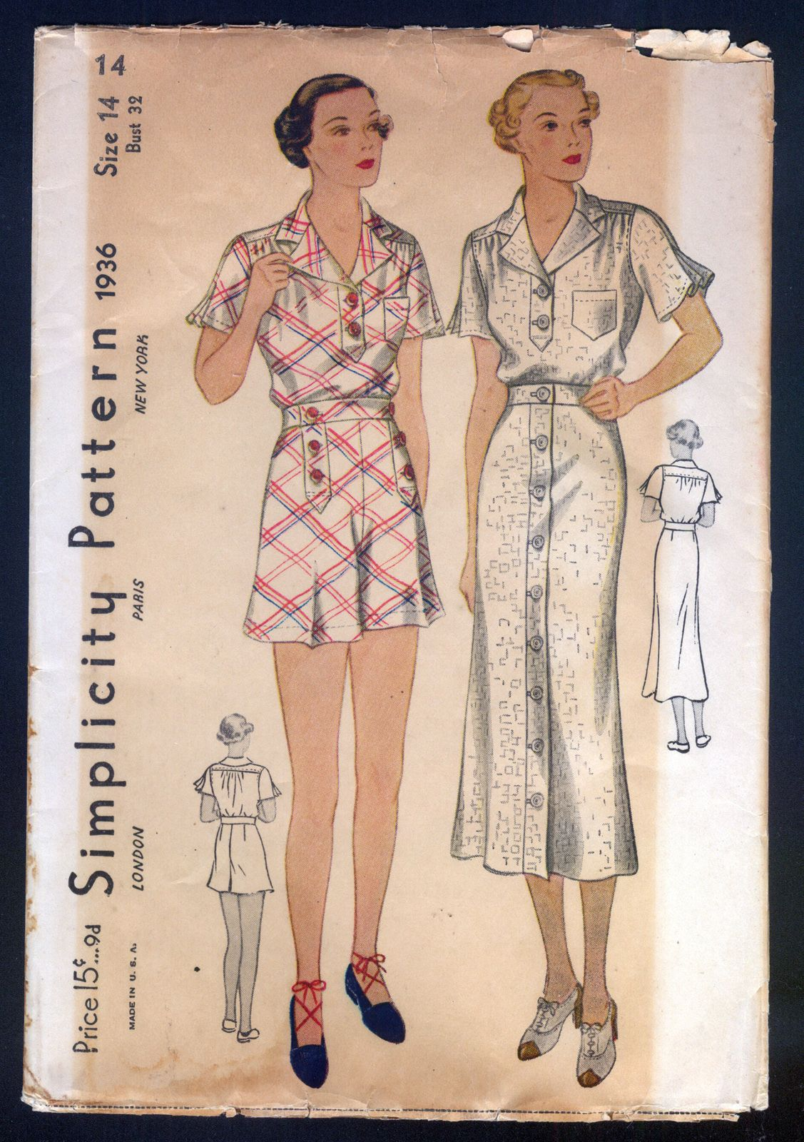 32adc7cb7c2ebb 1930 Simplicity Pattern Misses Shorts Sports Dress Ensemble | eBay ...