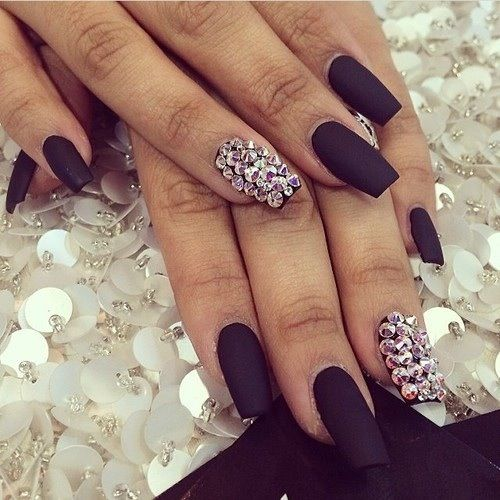Matte Black Acrylics With Rhinestone Index Finger Sparkle Nails Cute Nails Nails