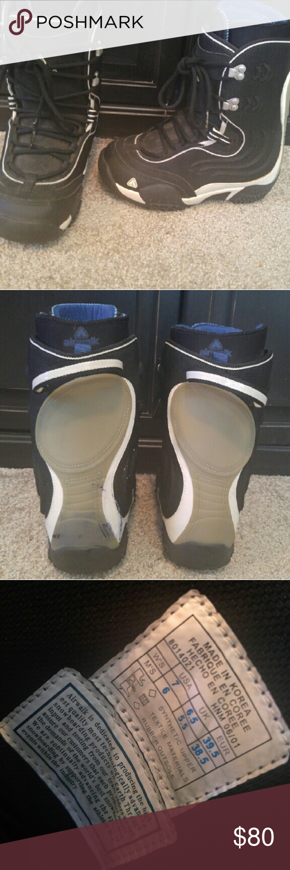 Airwalk Snowboard Boots Woman's size 7 snowboard boots. Stain on back of right boot is fingernail polish. Airwalk Shoes Winter & Rain Boots