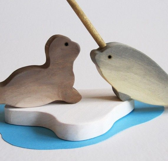 Narwhal and Seal Play Set  Waldorf Wooden Toy by Imaginationkids, $25.00