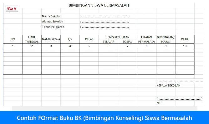 Download Contoh Format Buku Bk Bimbingan Konseling Siswa