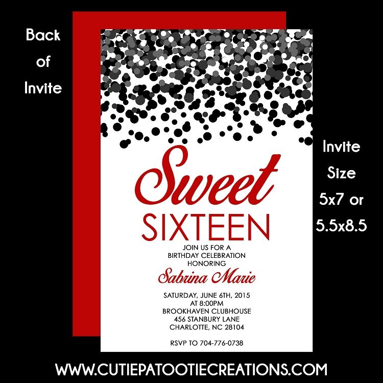Black and Red Confetti Sweet 16 Sixteen Birthday Invitation | **All ...