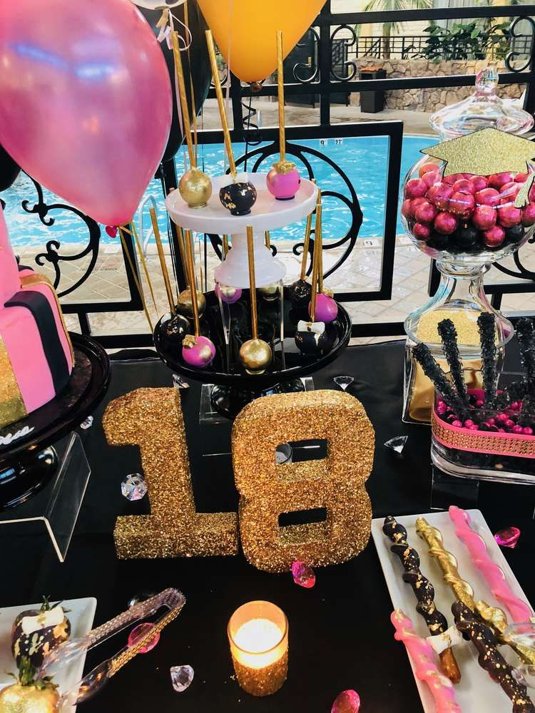 Pink White Black And Gold Graduation End Of School Party Ideas