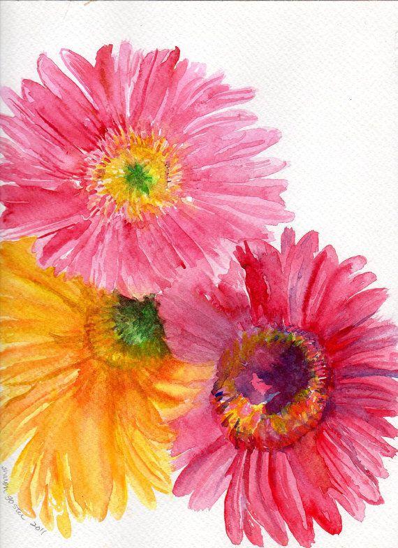 Gerbera Daisy Watercolor Painting Original Pink Gerber Daisy
