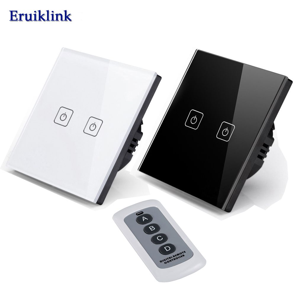 Wireless Remote Control Light Switches 2 Gang 1 Way Wall Light