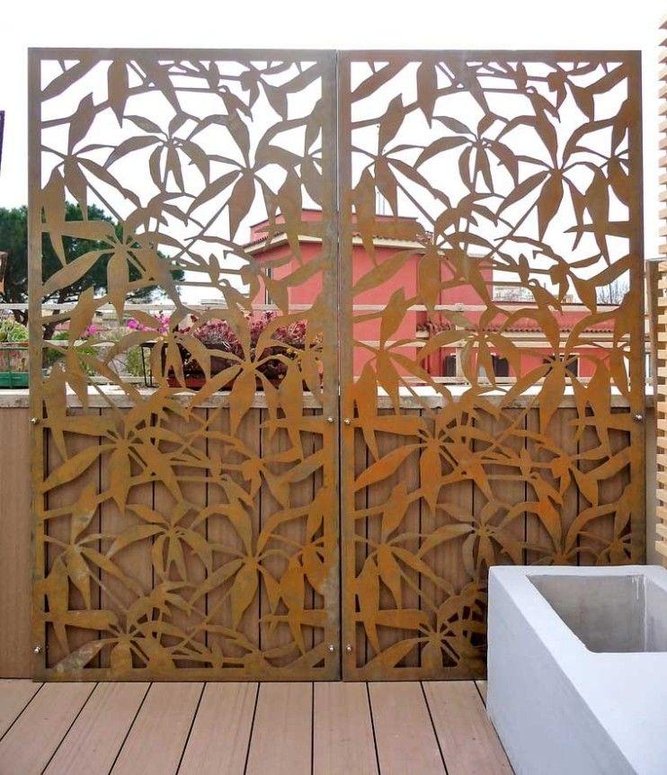 Sichtschutzzaun Aus Metall Cortenstahl Terrasse Floral Palmen