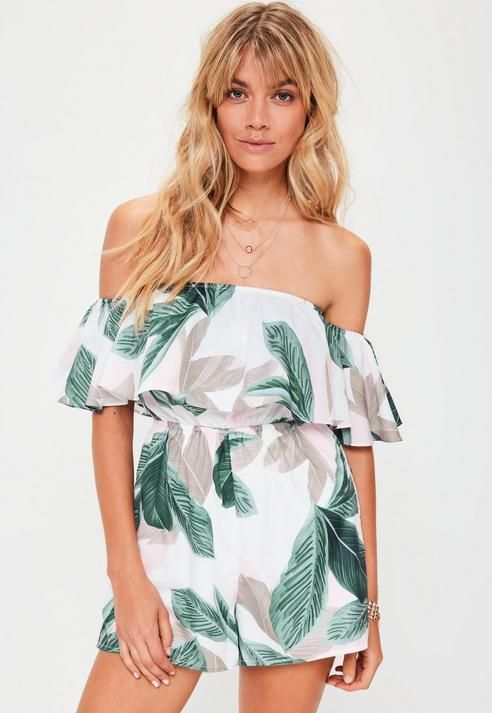 f5e5f8d697a Missguided White Tropical Leaf Print Bardot Playsuit | Products