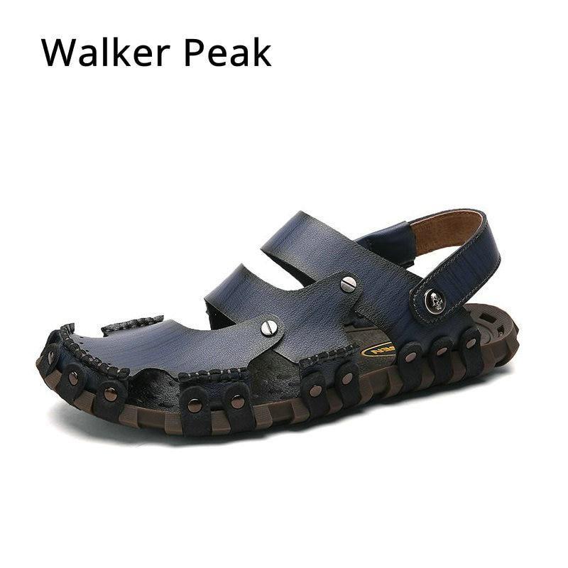 9889c7eece1ea1 Super Soft Genuine Leather Beach Sandals for Men Handmade Men Summer Lazy Casual  Shoes Non Slip Classics Men Slippers Walkerpeak.