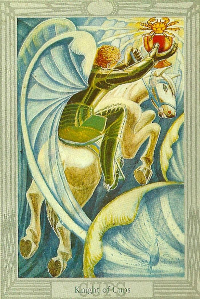 Thoth Tarot - Knight of Cups - The powerful Thoth Tarot deck was designed by Aleister Crowley, an influencial and controversial occultist of the early 20th century. He worked on the deck from 1938 to 1943.