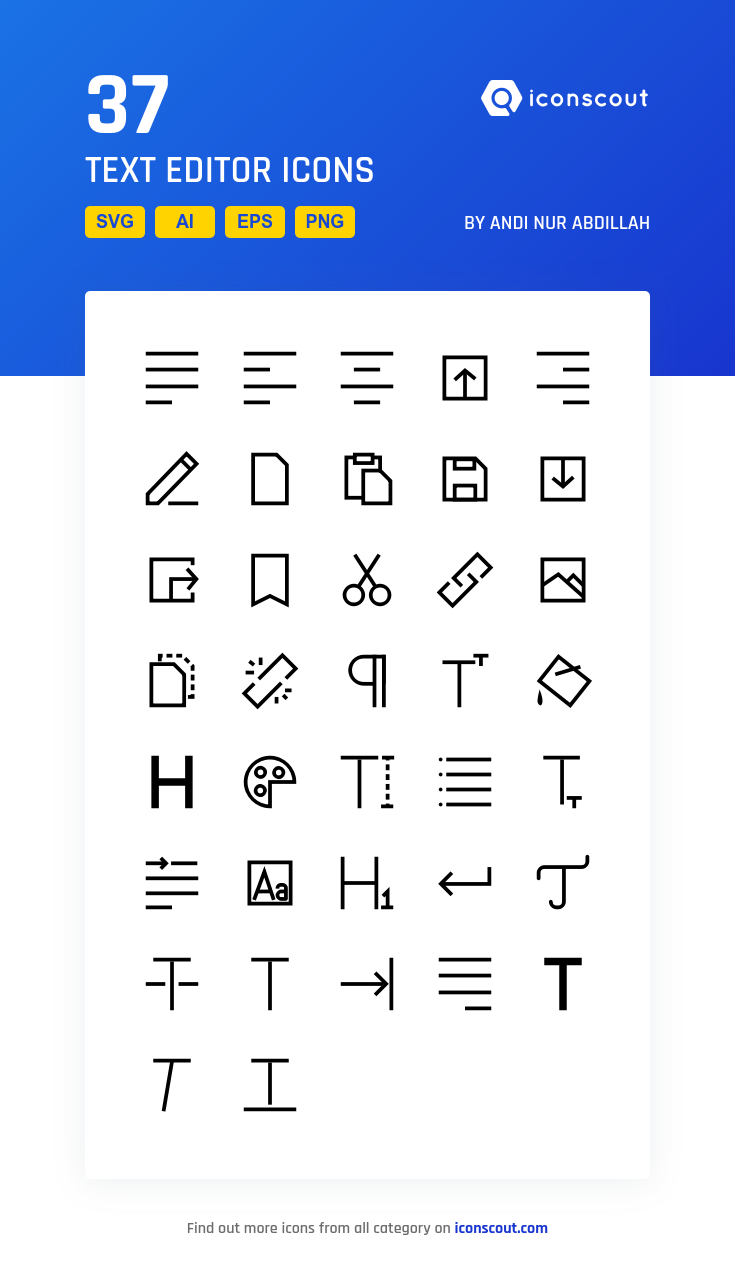 571523793 Text Editor Icon Pack - 37 Line Icons | Design & Development | Text ...