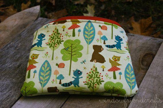 Set of Zippered Pouches Woodland Critter by WindowFriendCrafts, $26.00