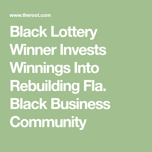 Black Lottery Winner Invests Winnings Into Rebuilding Fla. Black Business Community