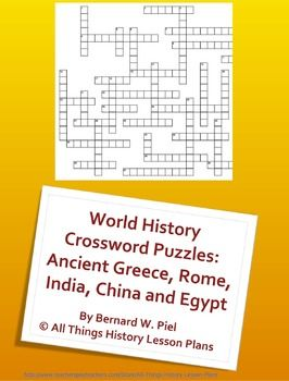 World History Crossword Puzzles Ancient Greece Rome India China