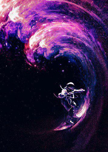'Space Surfing' Metal Poster Print - Nicebleed Art | Displate