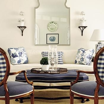 White And Navy Living Room, Transitional, Living Room, House Beautiful Part 74