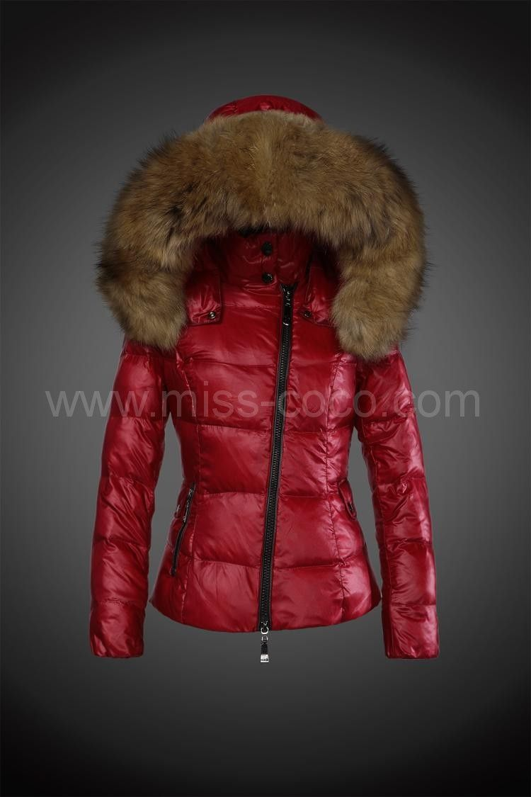 289 red moncler jacket for women with fur cap jacket. Black Bedroom Furniture Sets. Home Design Ideas