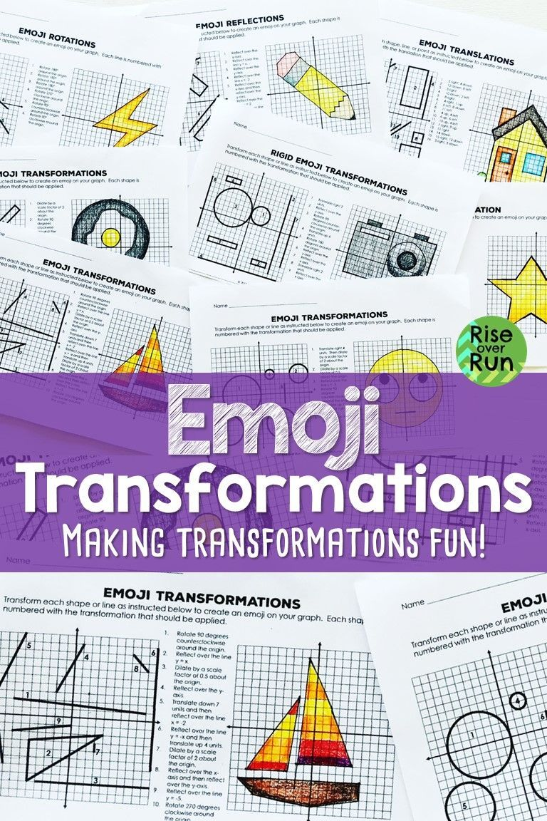 Transformations Practice Emojis Translate Reflect Rotate And Dilate Transformations Math Reflection Math Teaching Math Strategies