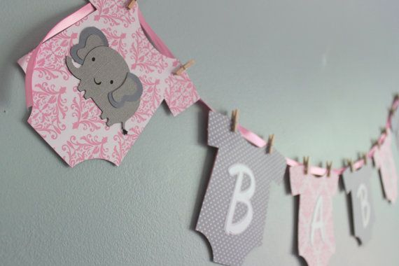 Elephant Baby Shower Banner It S A Girl Pink And Gray