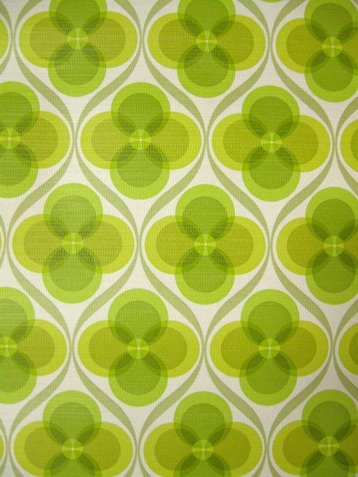 Orbital Green vintage wallpaper Tapeten, Retro druck
