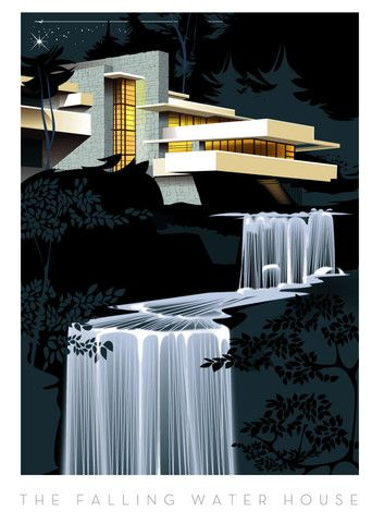 The Falling Water House, 2009 Giclée Print - Frank Lloyd Wright #Historia #Arte #Design @Qomomolo