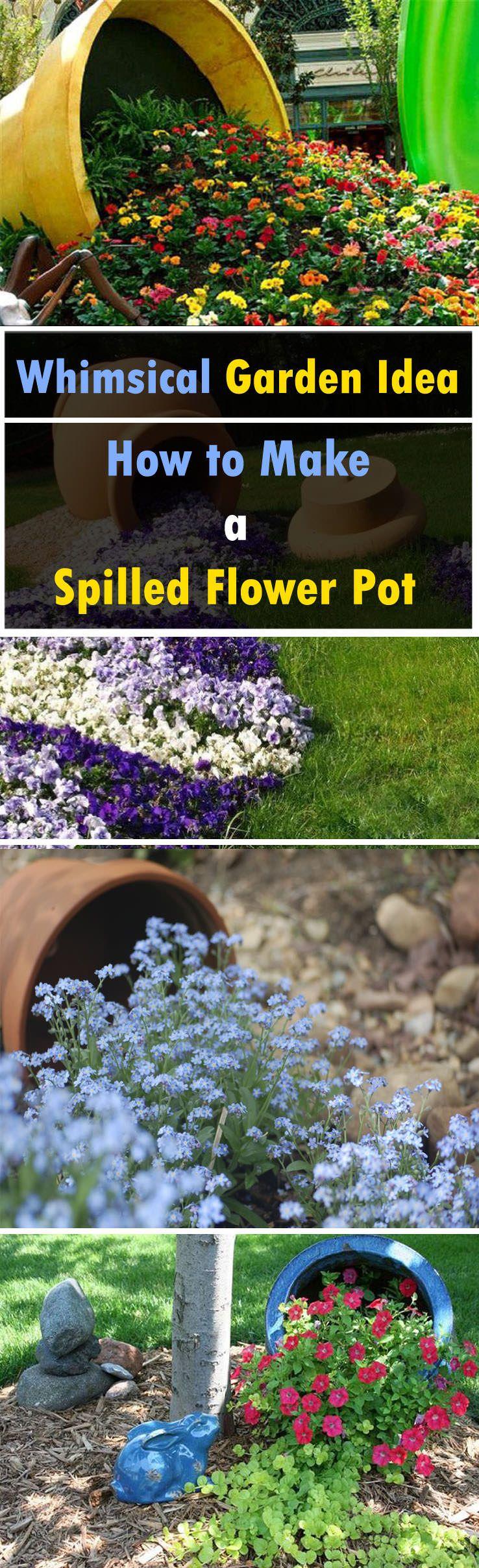 How to Make a Spilled Flower Pot | Gardens, Flower and Garden ideas
