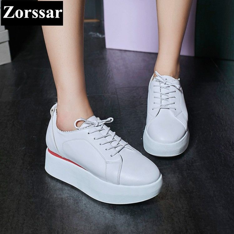 {Zorssar} 2017 NEW fashion leather female casual shoes Womens Flat Creepers platform  loafers Lace