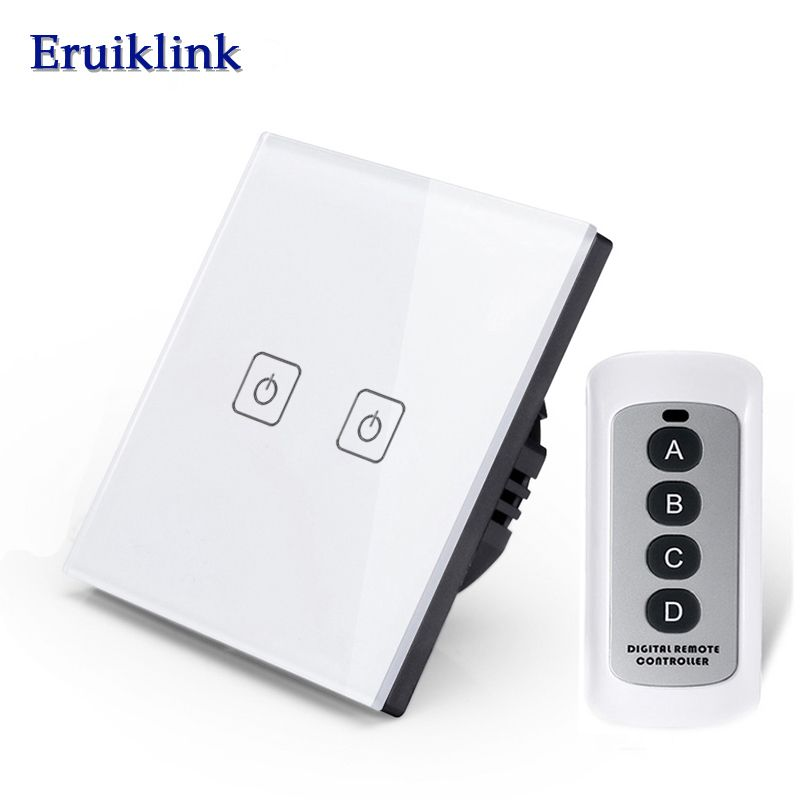 Wireless Remote Control Light Switches 2 Gang 1 Way Wall Light With Switch Touch Light Switch Remote
