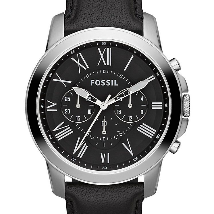 fossil men s grant silver tone black leather strap watch product fossil men s grant silver tone black leather strap watch product number 2838753